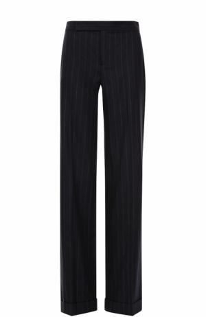Шерстяные расклешенные брюки в полоску Ralph Lauren. Цвет: темно-синий