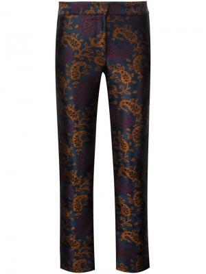 Жаккардовые брюки прямого кроя Yigal Azrouel. Цвет: синий