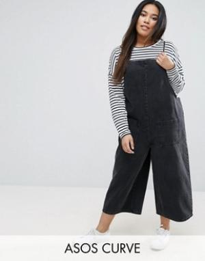 ASOS Curve Укороченный джинсовый комбинезон черного выбеленного цвета. Цвет: черный