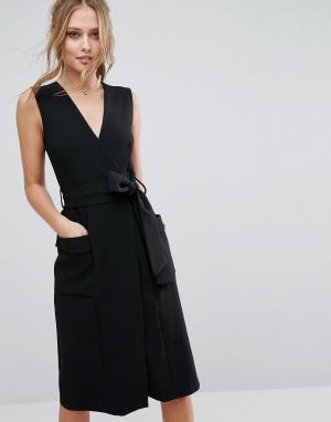 Closet London Платье миди с V-образным вырезом и карманами. Цвет: черный