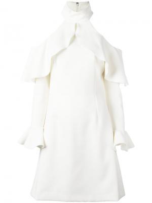 Платье с плиссированным подолом Elie Saab. Цвет: белый