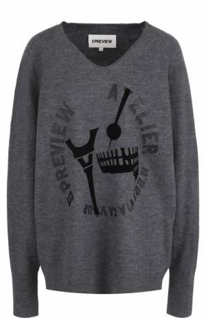 Шерстяной пуловер с V-образным вырезом 5PREVIEW R054