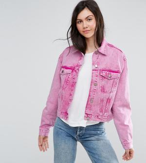ASOS Tall Выбеленная розовая джинсовая куртка. Цвет: розовый