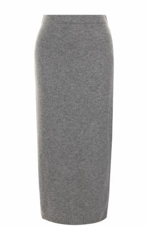 Вязаная юбка-миди с разрезом Tak.Ori. Цвет: серый