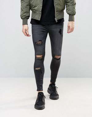 SikSilk Суперзауженные джинсы с рваной отделкой. Цвет: черный