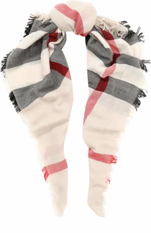 Шерстяной платок с принтом Burberry. Цвет: светло-серый