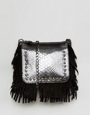 Urbancode Кожаная сумка через плечо с бахромой. Цвет: черный
