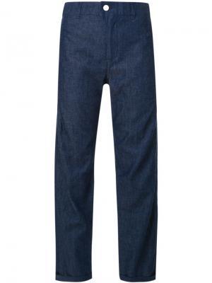 Укороченные широкие брюки Julien David. Цвет: синий