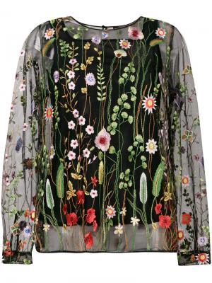 Прозрачная блузка с цветочной вышивкой Odeeh. Цвет: чёрный