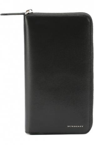 Кожаное портмоне на молнии с отделением для кредитный карт Burberry. Цвет: черный
