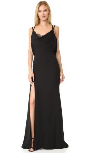 Шелковое вечернее платье с воротником-хомутом Reem Acra. Цвет: черный/черный