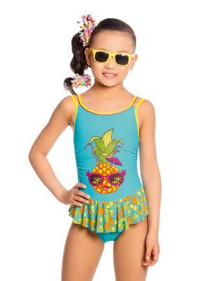 Купальник для девочек слитный Arina. Цвет: голубой,оранжевый,желтый