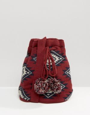 Hat Attack Вязаная сумка. Цвет: красный