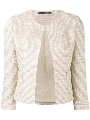 Приталенный твидовый пиджак Tagliatore. Цвет: телесный