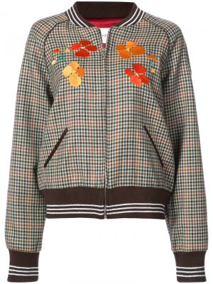 Embroidered checked bomber jacket Rodarte. Цвет: коричневый