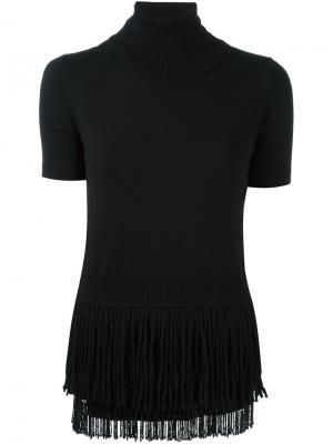 Блузка с высокой горловиной и бахромой Nº21. Цвет: чёрный