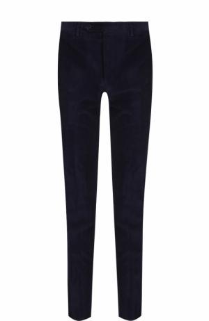 Хлопковые брюки прямого кроя Canali. Цвет: темно-синий