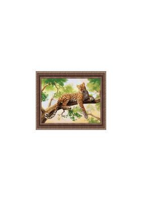 Леопард на ветке В982 Картина в раме 30х40 PROFFI. Цвет: зеленый, коричневый, оранжевый