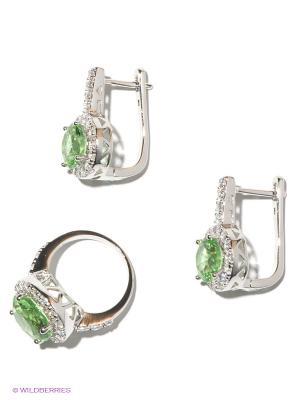 Комплект Lovely Jewelry. Цвет: серебристый, светло-зеленый