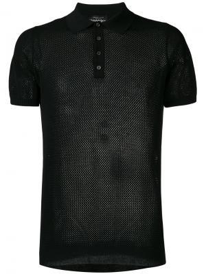 Сетчатая футболка-поло Roberto Collina. Цвет: чёрный