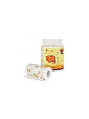 Полотенца кухонные бумажные Dream, 2 слоя, 60 л., белые с рисунком, рулона/упаковка Maneki. Цвет: белый