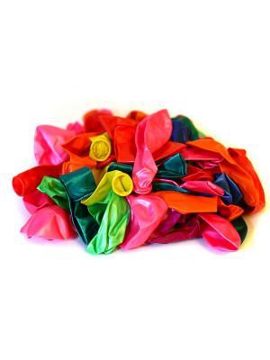Шары воздушные 50 шт, цветные в пакете KONONO. Цвет: синий, красный, желтый, белый