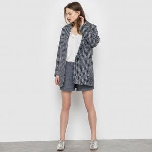 Пальто длинное жаккардовое SUNCOO. Цвет: экрю/ темно-синий