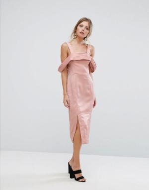 Keepsake Платье миди Too Late. Цвет: розовый