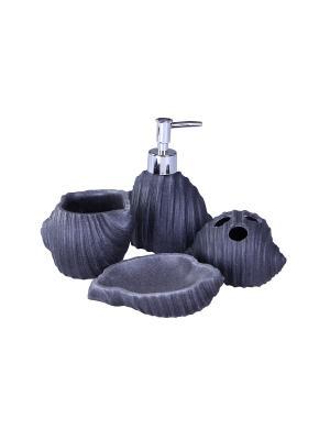 Набор для ванны 4 предмета: дозатор, подставка под зубные щетки, стакан, мыльница PATRICIA. Цвет: серый
