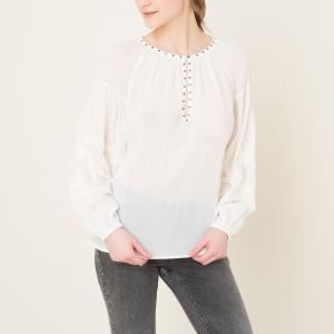Блузка с вышивкой MAISON SCOTCH. Цвет: индиго,экрю