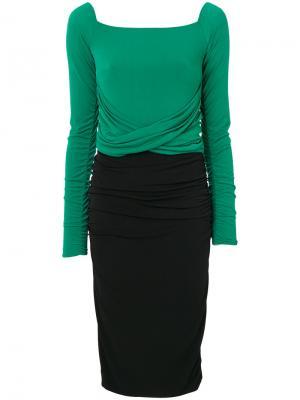 Платье с контрастной вставкой и оборкой Marco Bologna. Цвет: чёрный