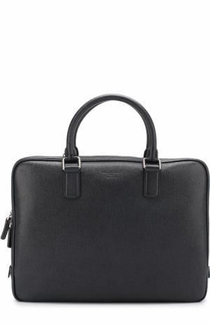 Кожаная сумка для ноутбука Giorgio Armani. Цвет: темно-синий