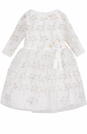 Мини-платье с металлизированной вышивкой и декором David Charles. Цвет: золотой