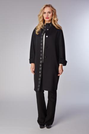 Черное женское пальто  с декоративной отделкой Heresis. Цвет: черный