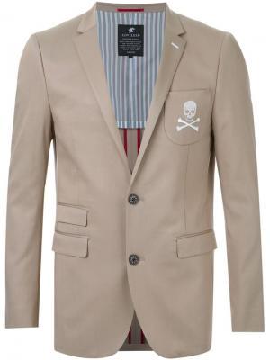 Блейзер с вышивкой Loveless. Цвет: коричневый