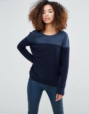 Shae Темно-синий джемпер в стиле колор блок Donna. Цвет: темно-синий