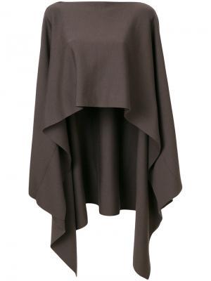 Пуловер-пончо асимметричного кроя Jil Sander. Цвет: коричневый