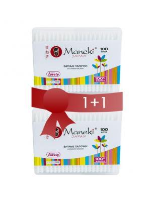 Косметический набор KN1467 Lovely из 2х упаковок гигиенических ватных палочек Maneki. Цвет: белый