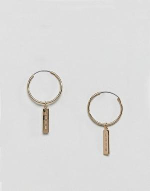 Orelia Серьги-кольца с надписью Love на планке. Цвет: золотой