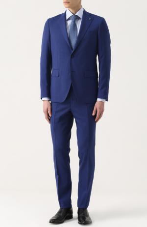 Шерстяной костюм с пиджаком на двух пуговицах Sartoria Latorre. Цвет: синий