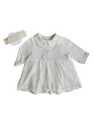 Комплект (платье с отложным воротничком+повязка на голову), КОМПЛЕКТЫ ВЫПИСКУ Soni kids. Цвет: молочный