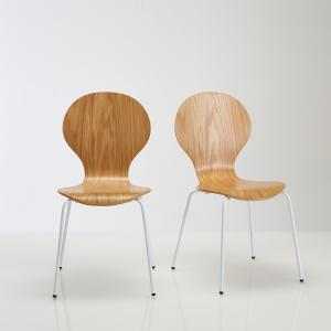 2 стула с дубовым шпоном, JIMI La Redoute Interieurs. Цвет: белый