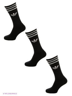 Носки Solid Crew Sock, 3 пары Adidas. Цвет: черный, белый