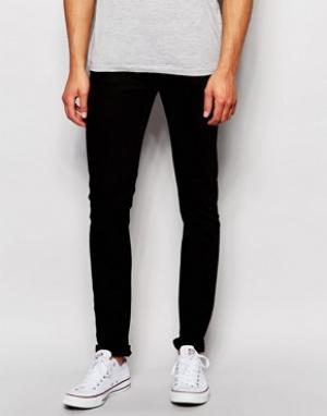 LDN DNM Выбеленные черные супероблегающие джинсы. Цвет: черный