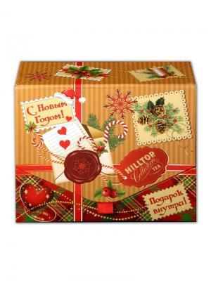 Чай Hilltop Шкатулка Посылка от Деда Мороза Подарок Цейлона 100гр. + игрушка. Цвет: черный