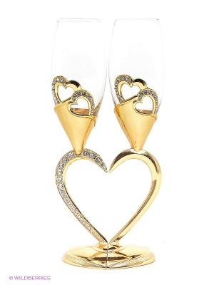 Набор бокалов - Сердце, 2 шт. Marquis. Цвет: золотистый