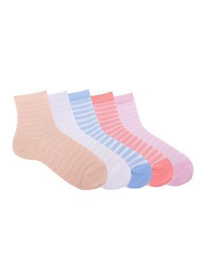 Носки, 6 пар Akos. Цвет: голубой, белый, розовый
