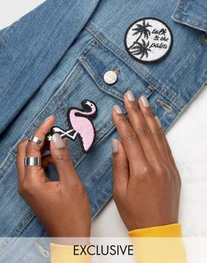 Skinnydip Набор термонашивок с фламинго. Цвет: мульти