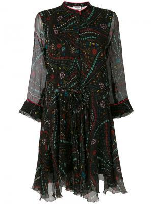 Расклешенное платье с вышивкой Zadig & Voltaire. Цвет: красный