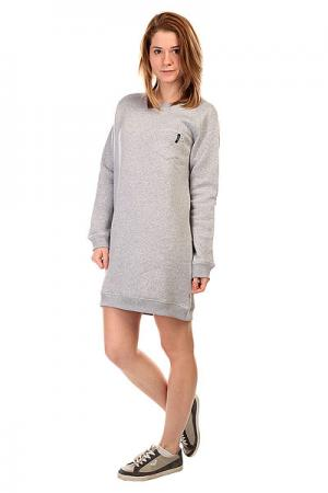 Платье женское  Pocket Sleeve Dress Heather Grey Emblem. Цвет: серый